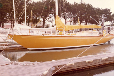 """Dad's dream yacht, the Columbia 50, """"Yellowbird"""". A beautiful sloop, designed by William Tripp; here at the St. Francis Yacht Club, early 1970s."""