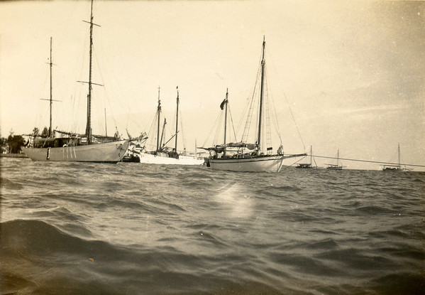 """Golden Hind"" on left; ""Tagua"", probably a trading vessel in centre; ""Waipru"" a private yacht on the right."