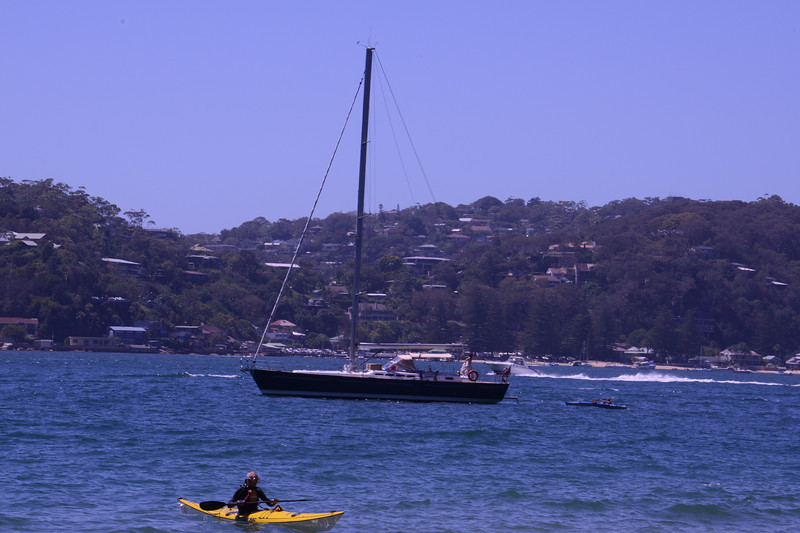 """The Count"" at anchor Mackerel Bay."